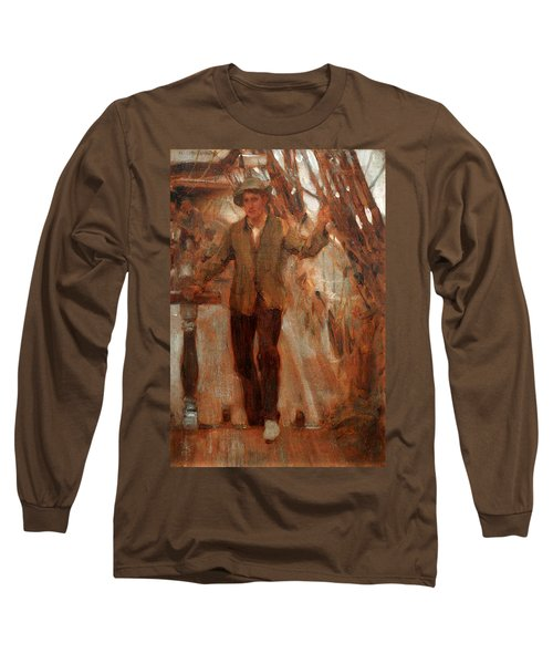 Long Sleeve T-Shirt featuring the painting At The Break Of The Poop  by Henry Scott Tuke