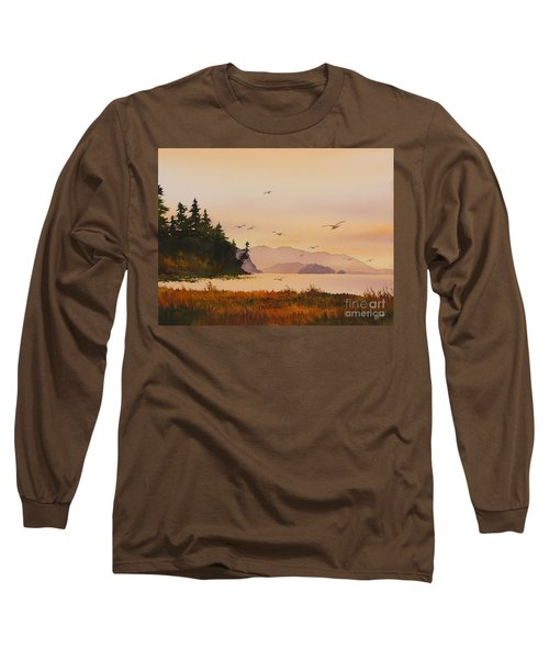 Long Sleeve T-Shirt featuring the painting Autumn Shore by James Williamson