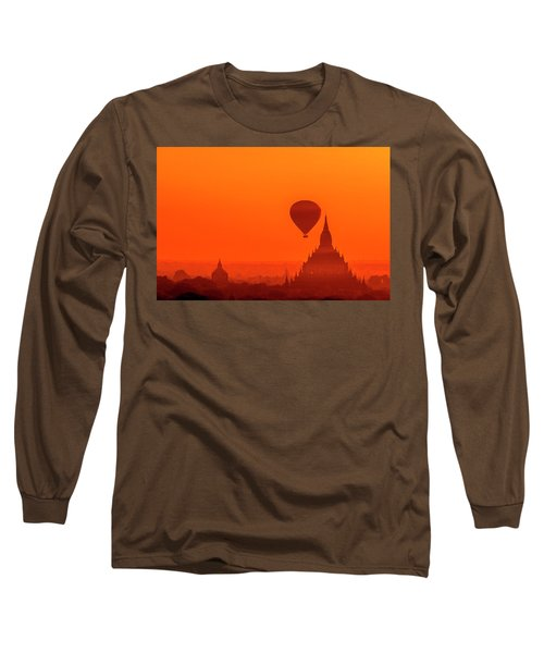 Bagan Pagodas And Hot Air Balloon Long Sleeve T-Shirt