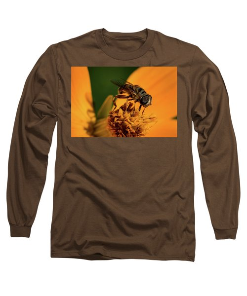 Long Sleeve T-Shirt featuring the photograph Bee On Flower by Jay Stockhaus