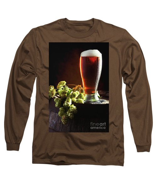 Beer And Hops On Barrel Long Sleeve T-Shirt