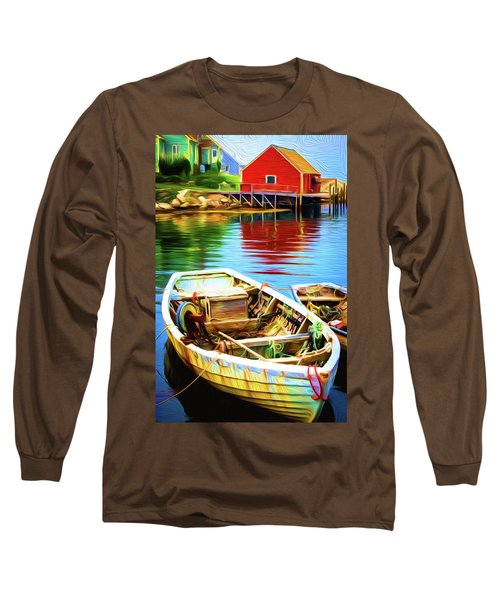 Boats Long Sleeve T-Shirt by Andre Faubert