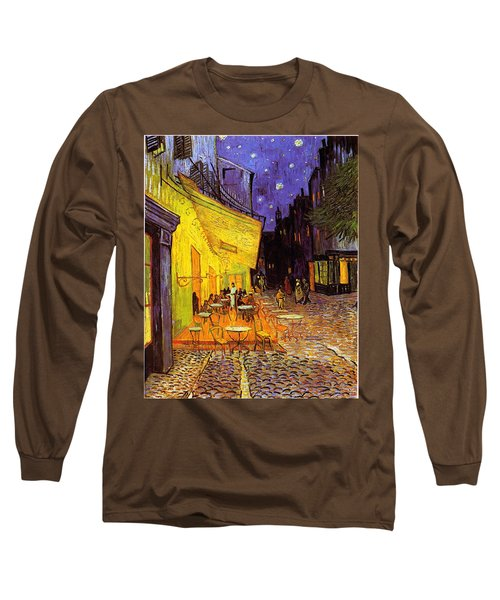 Long Sleeve T-Shirt featuring the painting Cafe Terrace At Night by Van Gogh
