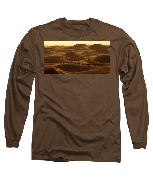 Camel Caravan In The Erg Chebbi Southern Morocco Long Sleeve T-Shirt by Ralph A  Ledergerber-Photography
