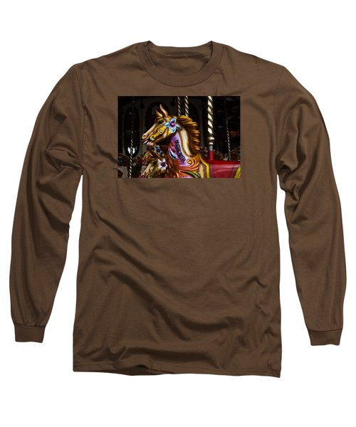 Long Sleeve T-Shirt featuring the photograph Carousel Horses by Steve Purnell