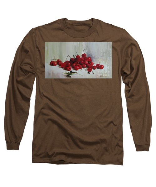 Long Sleeve T-Shirt featuring the painting Cherries by Elena Oleniuc