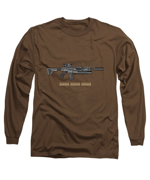 Colt  M 4 A 1  S O P M O D Carbine With 5.56 N A T O Rounds On Red Velvet  Long Sleeve T-Shirt by Serge Averbukh