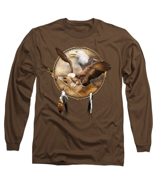 Long Sleeve T-Shirt featuring the mixed media Dream Catcher - Spirit Eagle 2 by Carol Cavalaris