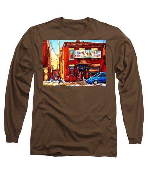 Fairmount Bagel In Winter Long Sleeve T-Shirt