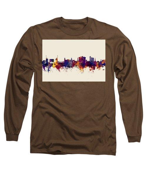 Long Sleeve T-Shirt featuring the digital art Fayetteville Arkansas Skyline by Michael Tompsett