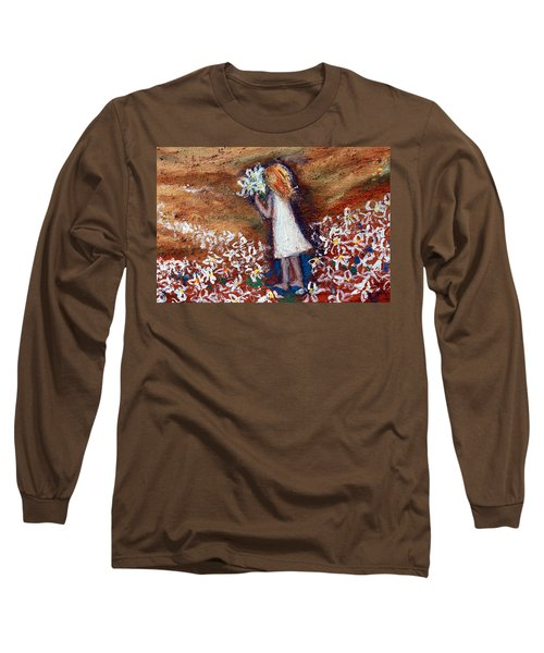 Long Sleeve T-Shirt featuring the painting Field Of Flowers by Winsome Gunning