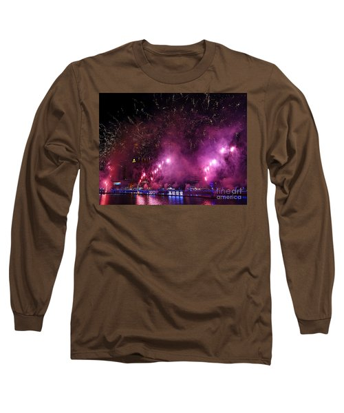 Fireworks Along The Love River In Taiwan Long Sleeve T-Shirt by Yali Shi