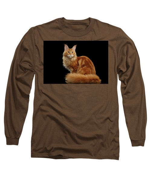 Ginger Maine Coon Cat Isolated On Black Background Long Sleeve T-Shirt by Sergey Taran