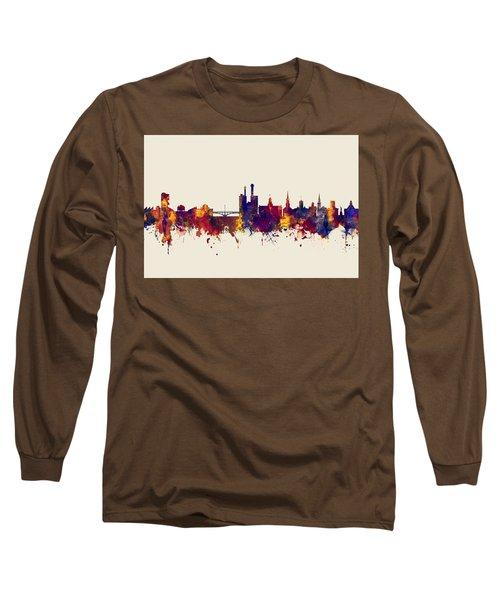 Long Sleeve T-Shirt featuring the digital art Iowa City Iowa Skyline by Michael Tompsett
