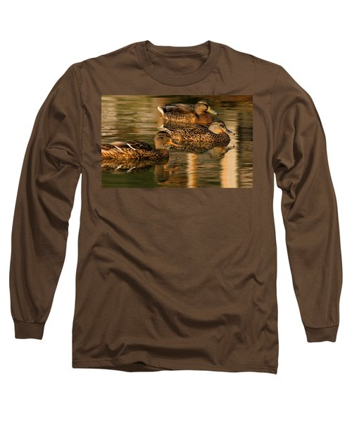 Mallards Swimming In The Water At Magic Hour Long Sleeve T-Shirt