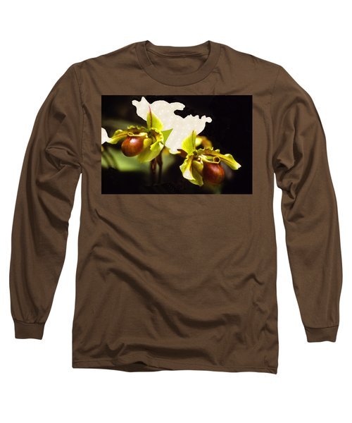 Long Sleeve T-Shirt featuring the mixed media Paphiopedilum Orchid by Rosalie Scanlon