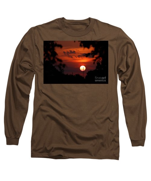 Sunset At Lake Hefner Long Sleeve T-Shirt