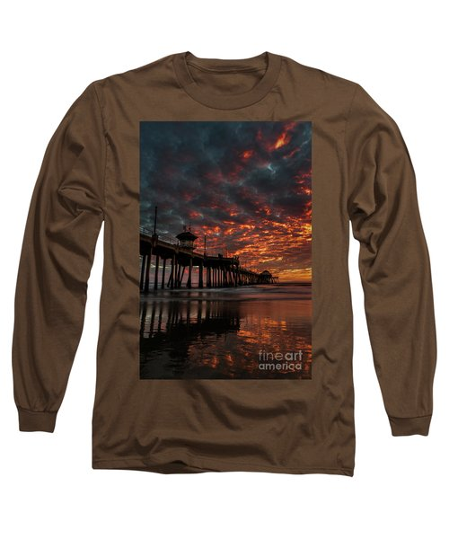 Sunset Over Huntington Beach Pier Long Sleeve T-Shirt