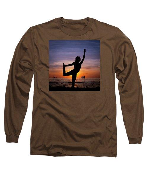 Sunset Yoga Long Sleeve T-Shirt by Scott Meyer