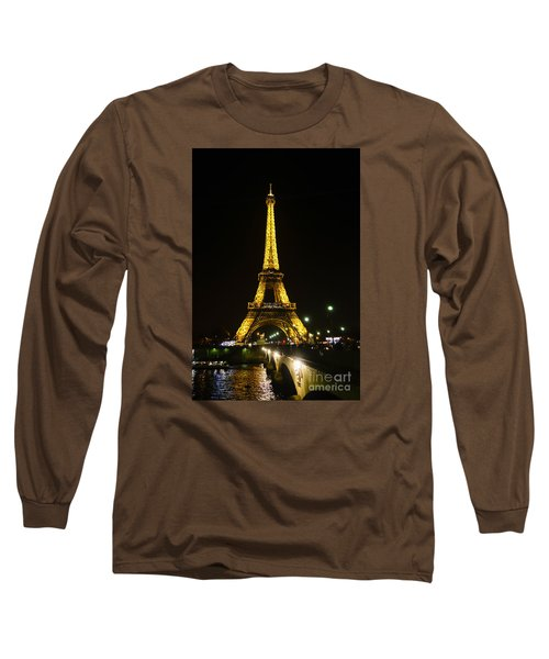 The Eiffel Tower At Night Illuminated, Paris, France. Long Sleeve T-Shirt by Perry Van Munster