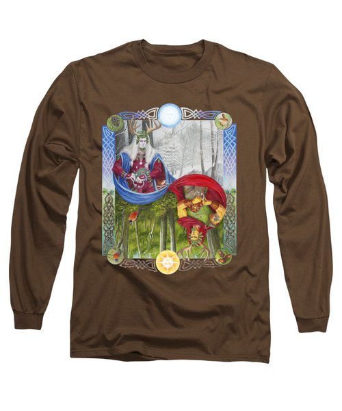 The Holly King And The Oak King Long Sleeve T-Shirt by Melissa A Benson