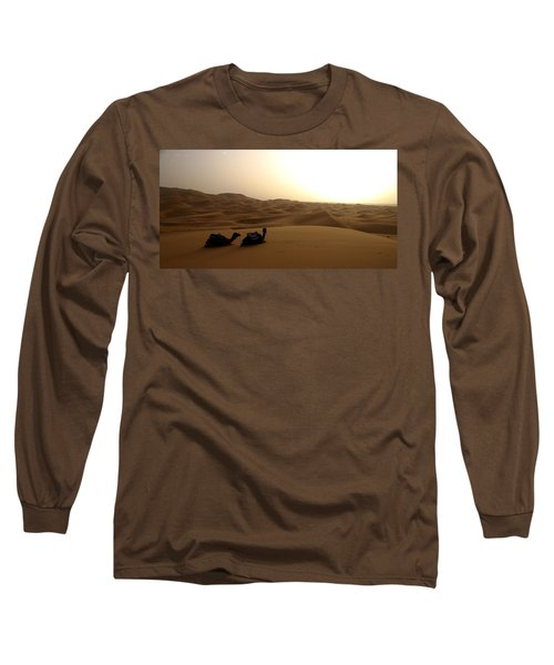 Two Camels At Sunset In The Desert Long Sleeve T-Shirt by Ralph A  Ledergerber-Photography
