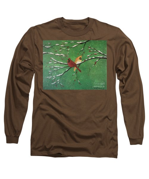 Long Sleeve T-Shirt featuring the painting Winter Cardinals by Denise Tomasura