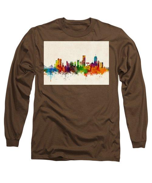 Boston Massachusetts Skyline Long Sleeve T-Shirt by Michael Tompsett