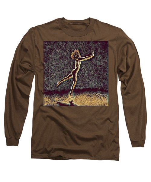 1302s-zak Naked Dancers Leap Nudes In The Style Of Antonio Bravo Long Sleeve T-Shirt by Chris Maher