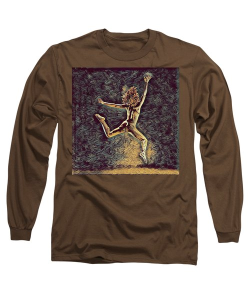 1307s-dancer Leap Fit Black Woman Bare And Free Long Sleeve T-Shirt