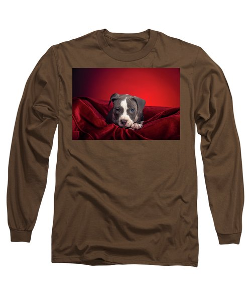 Long Sleeve T-Shirt featuring the photograph American Pitbull Puppy by Peter Lakomy
