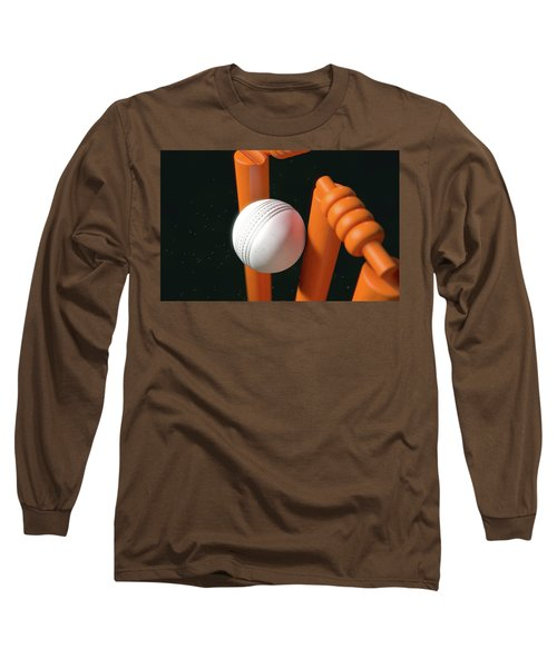 Cricket Ball Hitting Wickets Long Sleeve T-Shirt by Allan Swart