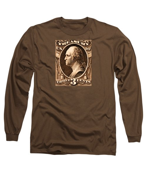 Long Sleeve T-Shirt featuring the painting 1875 George Washington Treasury Department Stamp by Historic Image