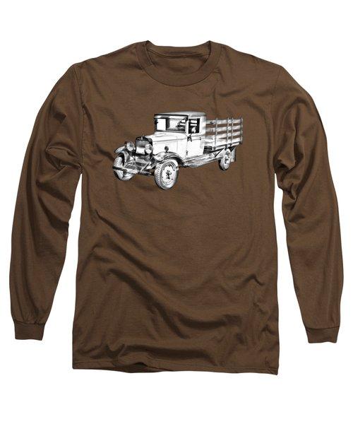 1929 Chevy Truck 1 Ton Stake Body Drawing Long Sleeve T-Shirt
