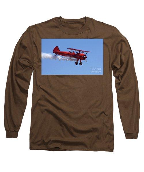 1940 Boeing Stearman Biplane Flyby Long Sleeve T-Shirt