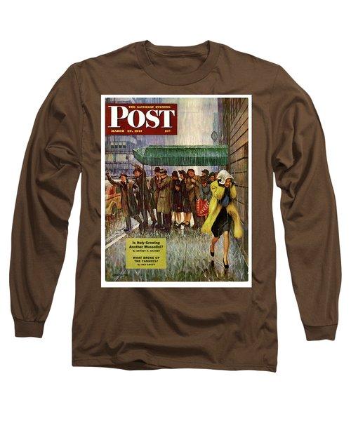 1947 Saturday Evening Post Magazine Cover Long Sleeve T-Shirt