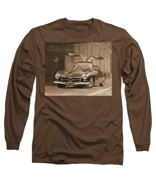 1954 Mercedes Benz 300 Sl  In Sepia Long Sleeve T-Shirt