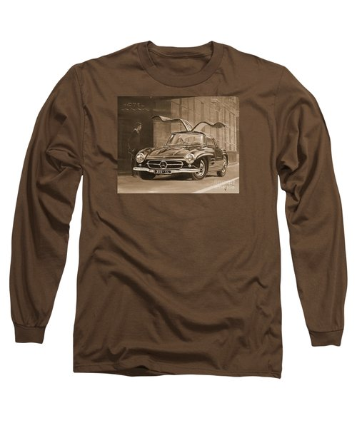 1954 Mercedes Benz 300 Sl  In Sepia Long Sleeve T-Shirt