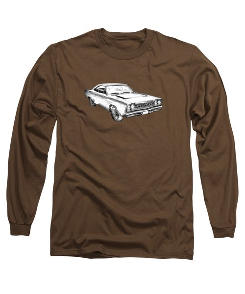 1968 Plymouth Roadrunner Muscle Car Illustration Long Sleeve T-Shirt