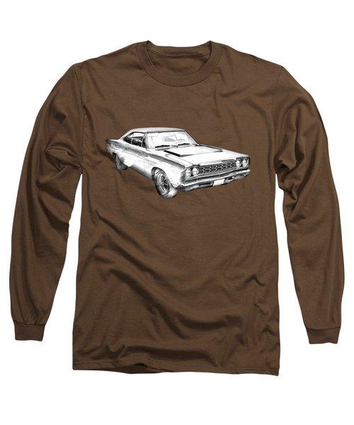 1968 Plymouth Roadrunner Muscle Car Illustration Long Sleeve T-Shirt