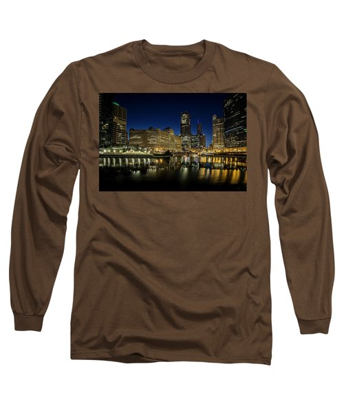 Chicago River And Skyline At Dawn Long Sleeve T-Shirt