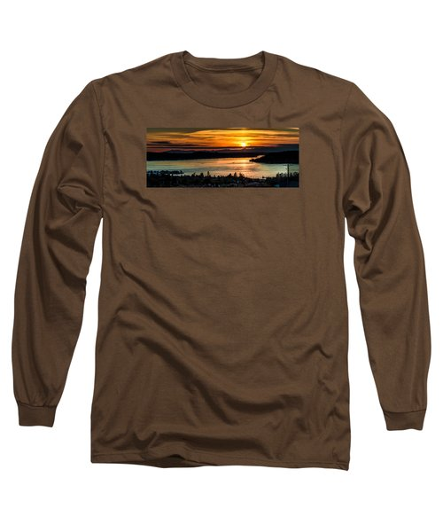 Sunset Over Hail Passage On The Puget Sound Long Sleeve T-Shirt