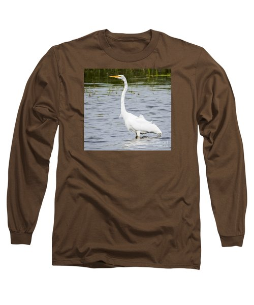 Long Sleeve T-Shirt featuring the photograph The Great White Egret by Ricky L Jones