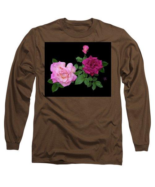 3 Pink Roses Cutout Long Sleeve T-Shirt