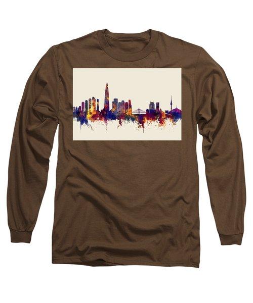 Long Sleeve T-Shirt featuring the digital art Seoul Skyline South Korea by Michael Tompsett