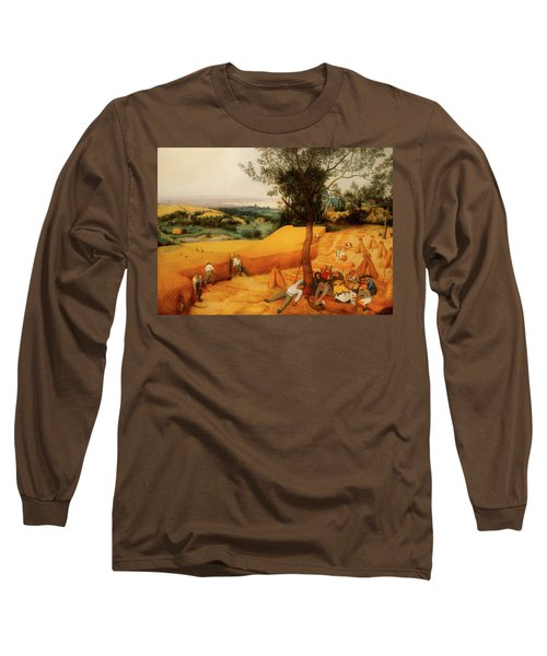 Long Sleeve T-Shirt featuring the painting The Harvesters by Pieter Bruegel The Elder