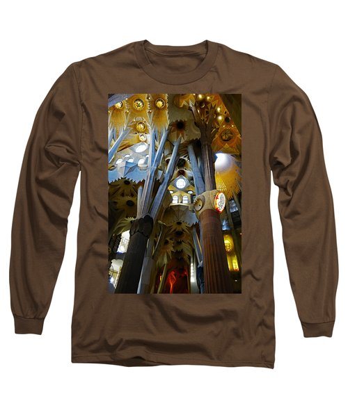 Artistic Achitecture Within The Sagrada Familia In Barcelona Long Sleeve T-Shirt by Richard Rosenshein