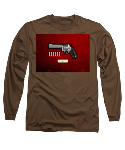 .44 Magnum Colt Anaconda On Red Velvet  Long Sleeve T-Shirt by Serge Averbukh