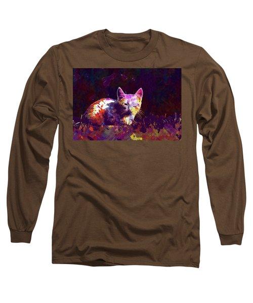 Long Sleeve T-Shirt featuring the digital art Cat Eye Injury One Eye Village  by PixBreak Art