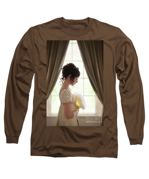 Regency Woman At The Window Long Sleeve T-Shirt by Lee Avison